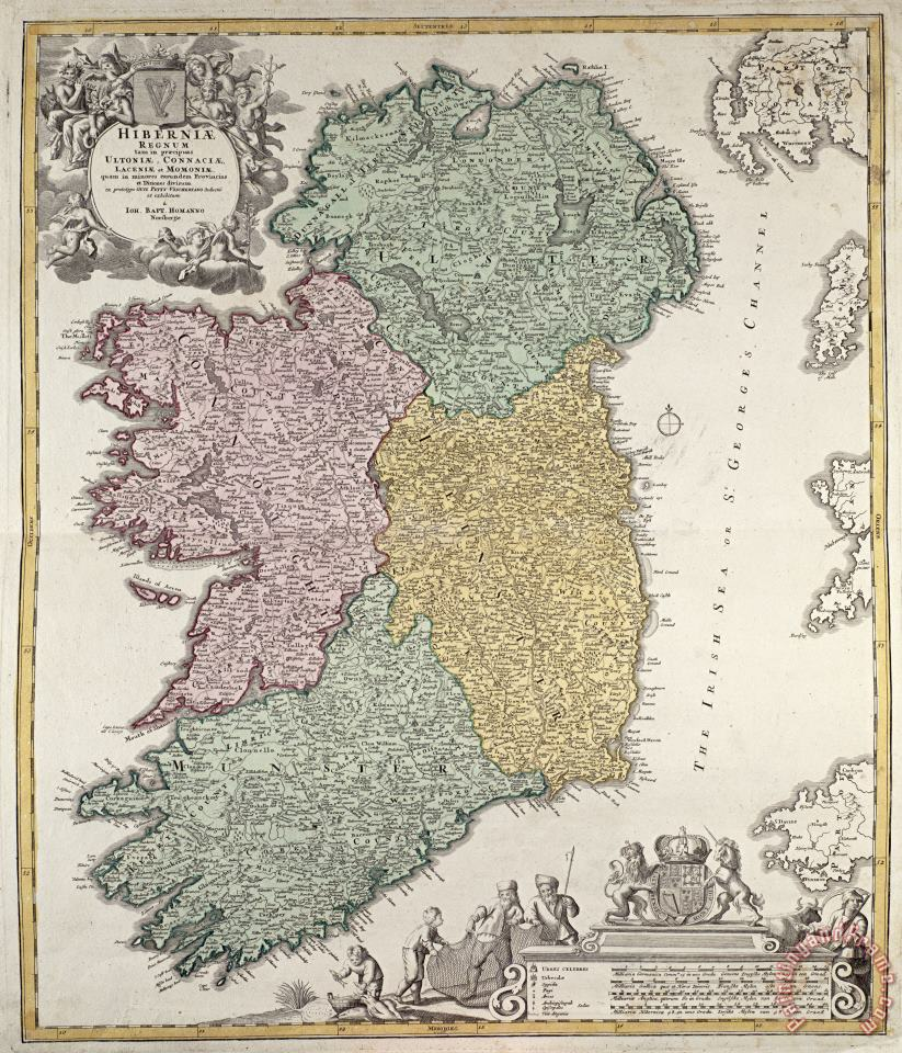 Johann Baptist Homann Antique Map of Ireland showing the Provinces Art Painting