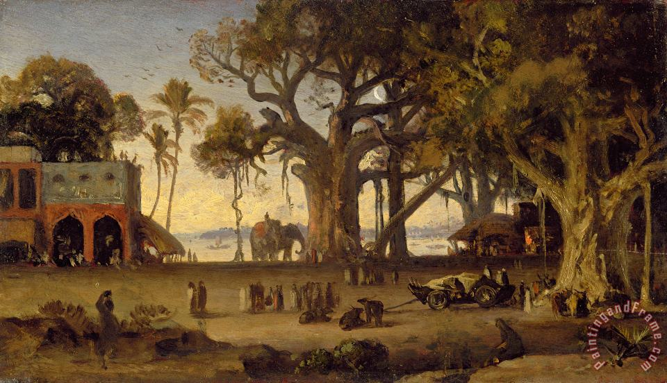Moonlit Scene of Indian Figures and Elephants among Banyan Trees painting - Johann Zoffany Moonlit Scene of Indian Figures and Elephants among Banyan Trees Art Print