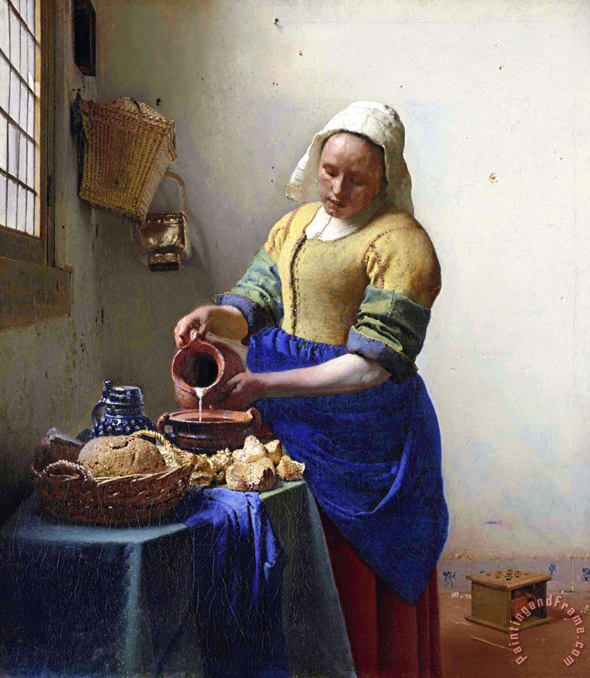 The Milkmaid painting - Johannes Vermeer The Milkmaid Art Print