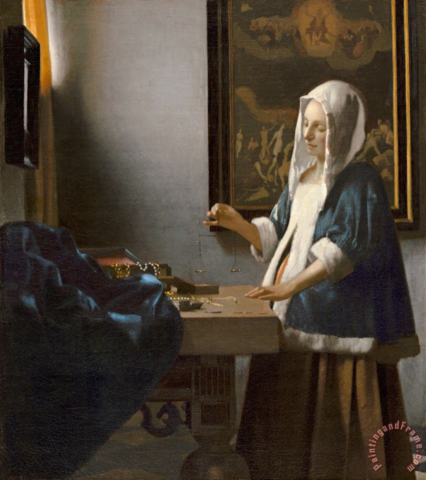Woman Holding a Balance painting - Johannes Vermeer Woman Holding a Balance Art Print