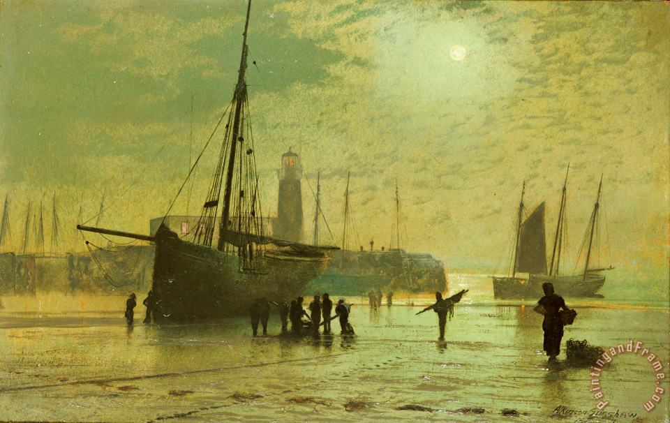The Lighthouse at Scarborough painting - John Atkinson Grimshaw The Lighthouse at Scarborough Art Print