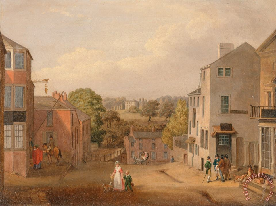 John Bird of Liverpool Street Scene in Chorley, Lancashire, with a View of Chorley Hall Art Painting