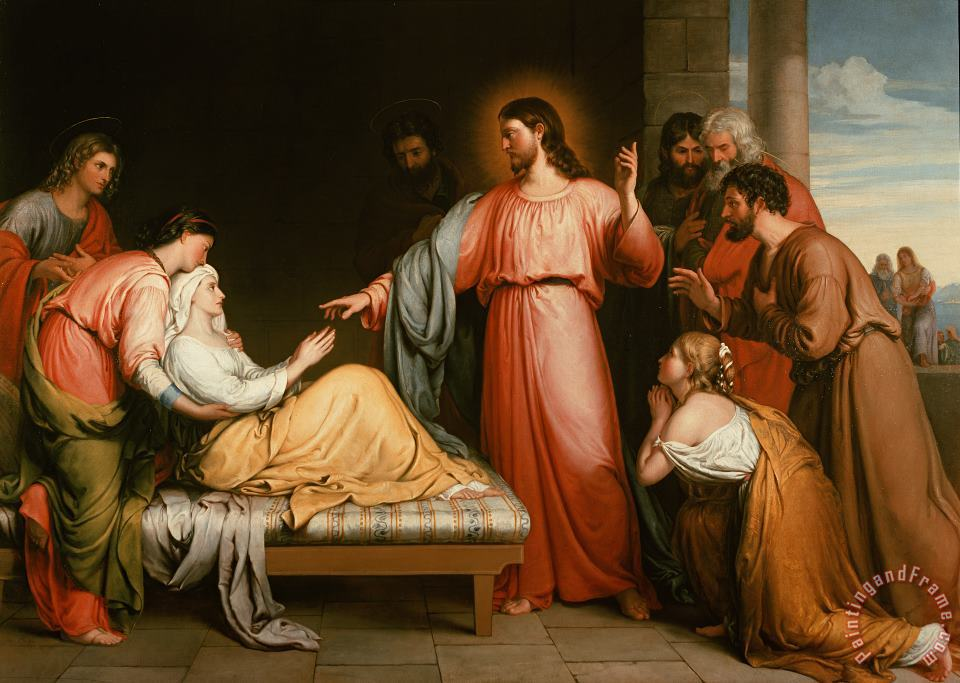 Christ healing the mother of Simon Peter painting - John Bridges Christ healing the mother of Simon Peter Art Print
