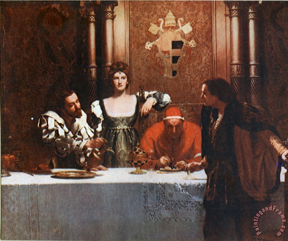 A Glass of Wine with Caesar Borgia painting - John Collier A Glass of Wine with Caesar Borgia Art Print