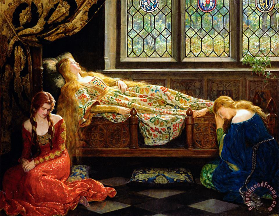 The Sleeping Beauty painting - John Collier The Sleeping Beauty Art Print