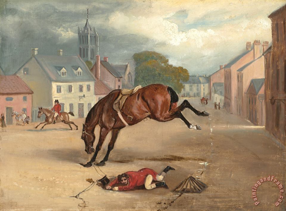 Count Sandor's Hunting Exploits in Leicestershire: No. 1: The Count Floored in The Streets of Melton Mowbray, on The First Day of Going to Cover painting - John Ferneley Count Sandor's Hunting Exploits in Leicestershire: No. 1: The Count Floored in The Streets of Melton Mowbray, on The First Day of Going to Cover Art Print