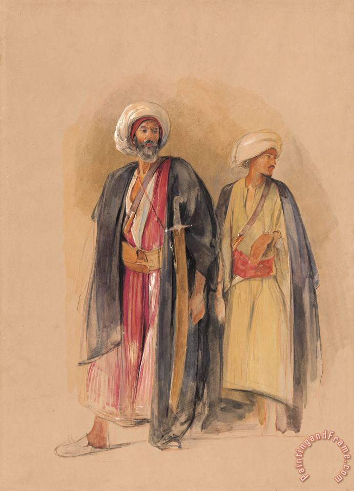 John Frederick Lewis Sheik Hussein of Gebel Tor And His Son Art Painting
