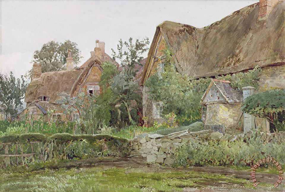 Thatched Cottages and Cottage Gardens painting - John Fulleylove Thatched Cottages and Cottage Gardens Art Print