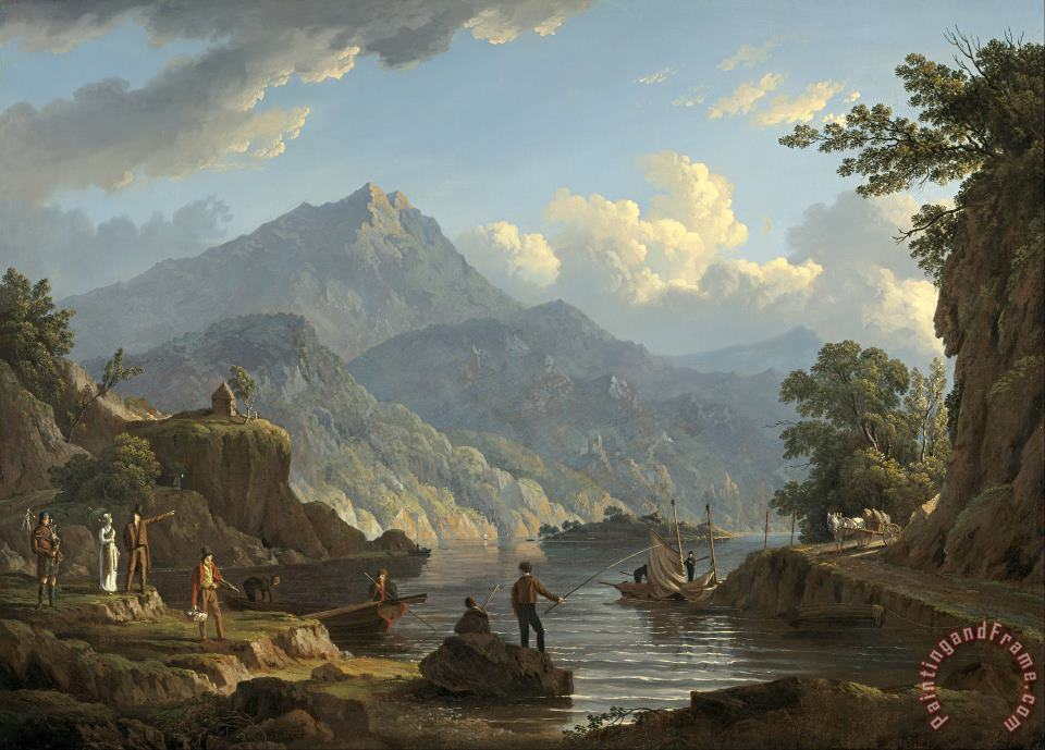 John Knox Landscape with Tourists at Loch Katrine Art Painting
