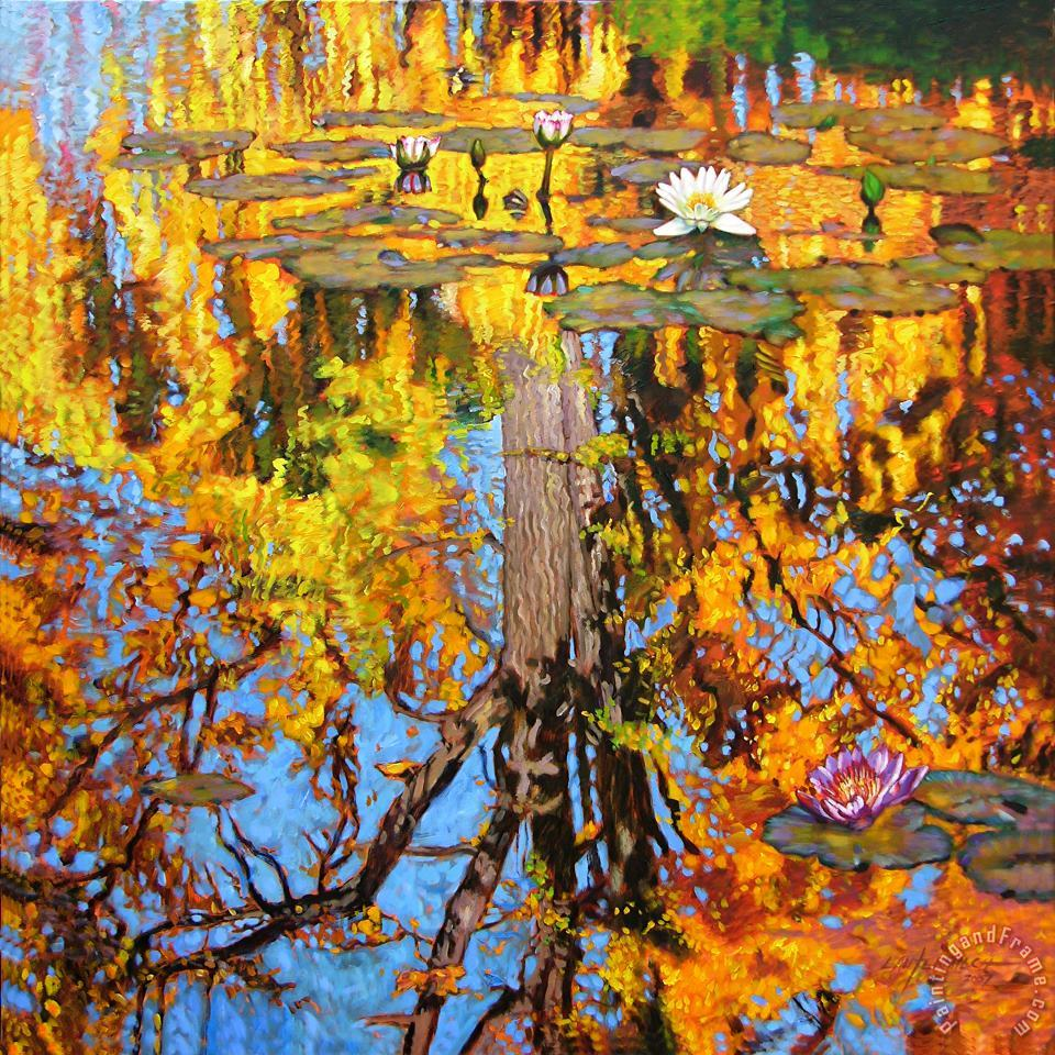 Golden Reflections on Lily Pond painting - John Lautermilch Golden Reflections on Lily Pond Art Print