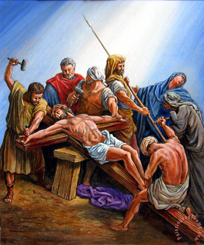 Jesus Nailed to the Cross painting - John Lautermilch Jesus Nailed to the Cross Art Print