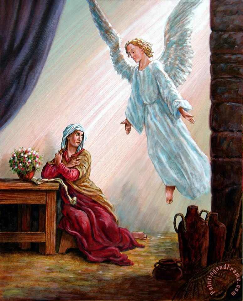 Mary and Angel painting - John Lautermilch Mary and Angel Art Print
