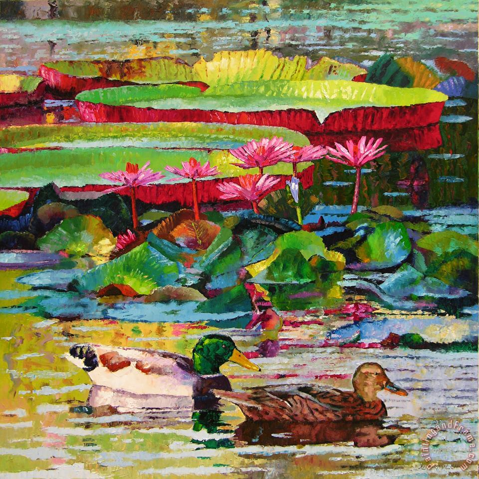 John Lautermilch Romancing Among the Lilies Art Painting