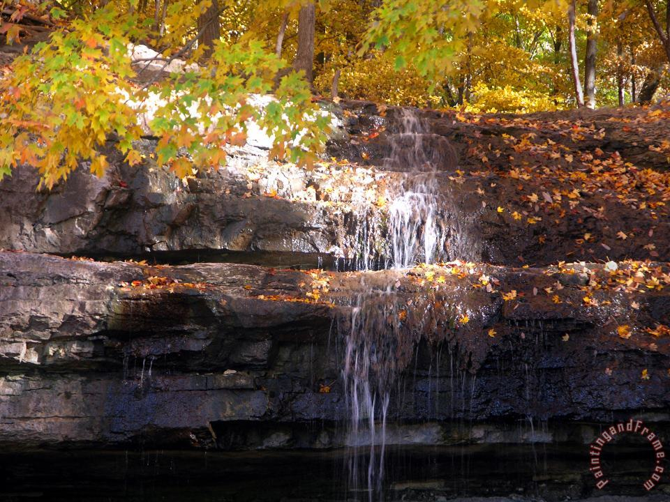 Waterfall in Creve Coeur painting - John Lautermilch Waterfall in Creve Coeur Art Print