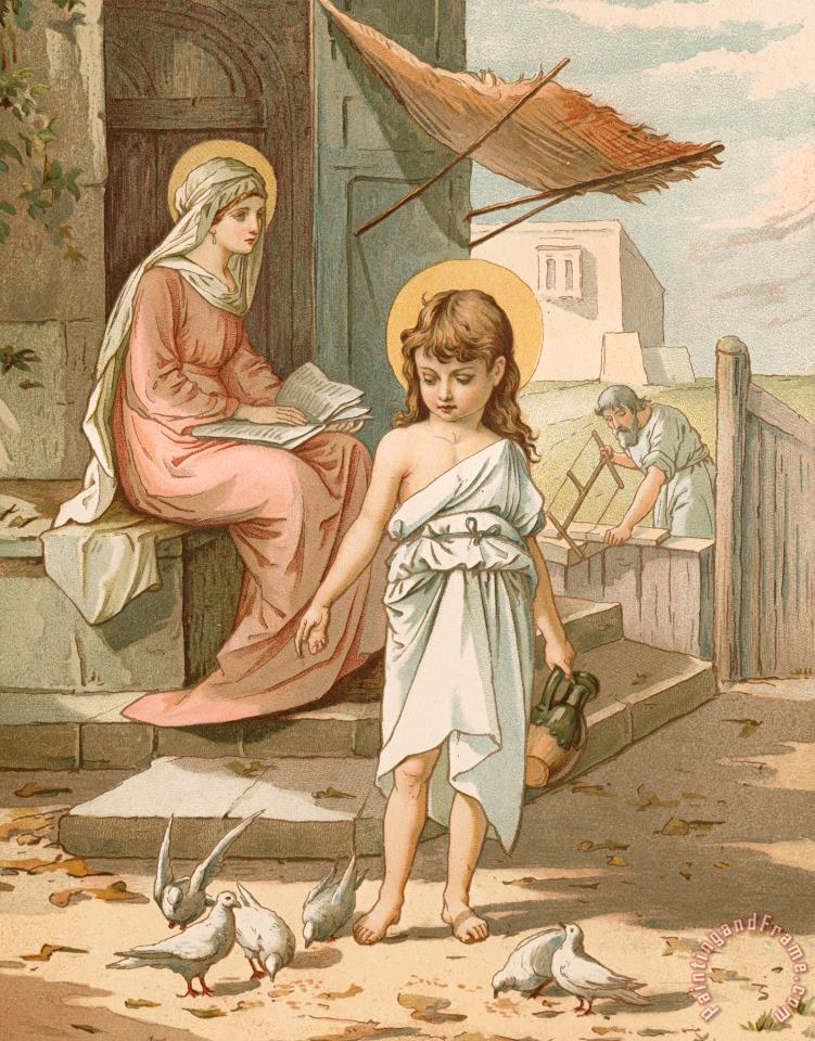 John Lawson Jesus as a Boy Playing with Doves Art Print