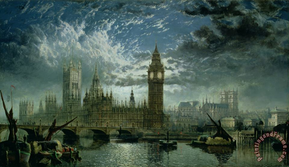 A View of Westminster Abbey and the Houses of Parliament painting - John MacVicar Anderson A View of Westminster Abbey and the Houses of Parliament Art Print