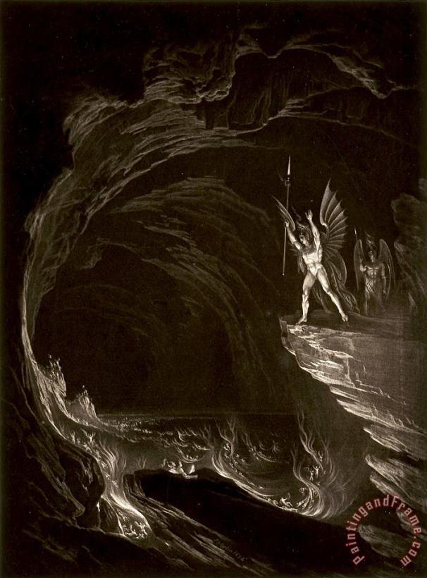 John Martin Satan Arousing The Fallen Angels Book 1 Line 314 From John Milton Paradise Lost Painting Satan Arousing The Fallen Angels Book 1 Line 314 From John Milton Paradise Lost Print For Sale
