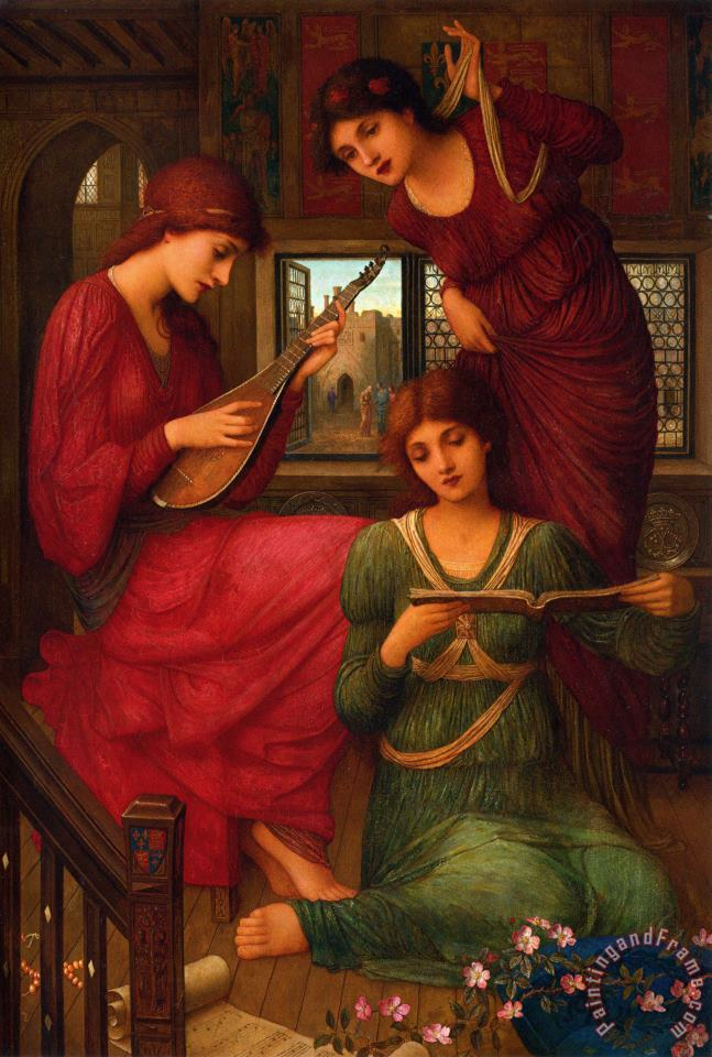 John Melhuish Strudwick In The Golden Days Art Painting