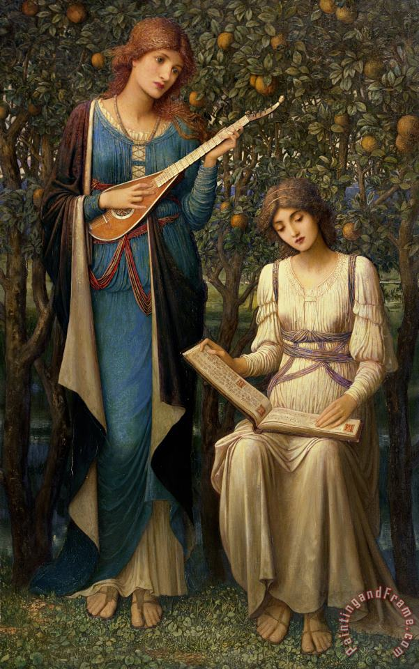 John Melhuish Strudwick When Apples were Golden and Songs were Sweet but Summer had Passed Away Art Print