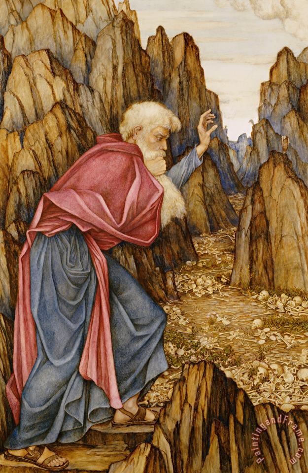 The Vision Of Ezekiel The Valley Of Dry Bones painting - John Roddam Spencer Stanhope The Vision Of Ezekiel The Valley Of Dry Bones Art Print