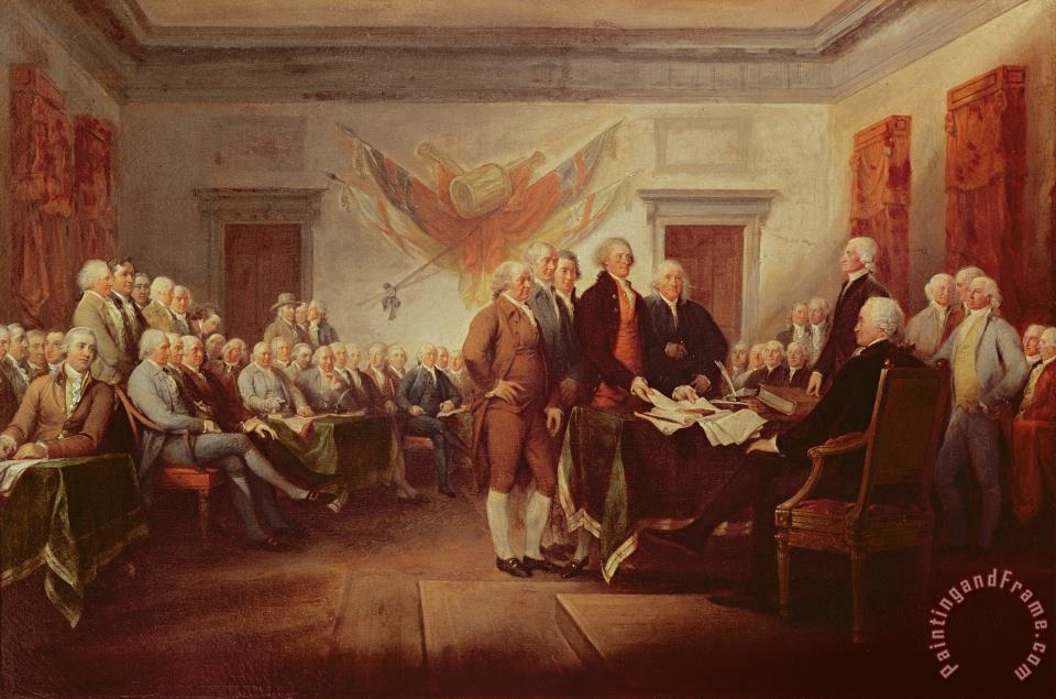 Signing the Declaration of Independence painting - John Trumbull Signing the Declaration of Independence Art Print