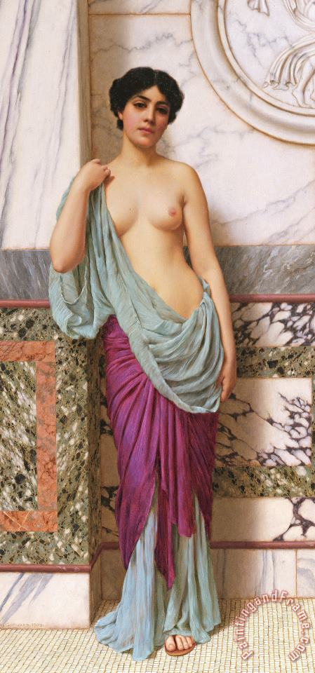 In the Tepidarium painting - John William Godward In the Tepidarium Art Print