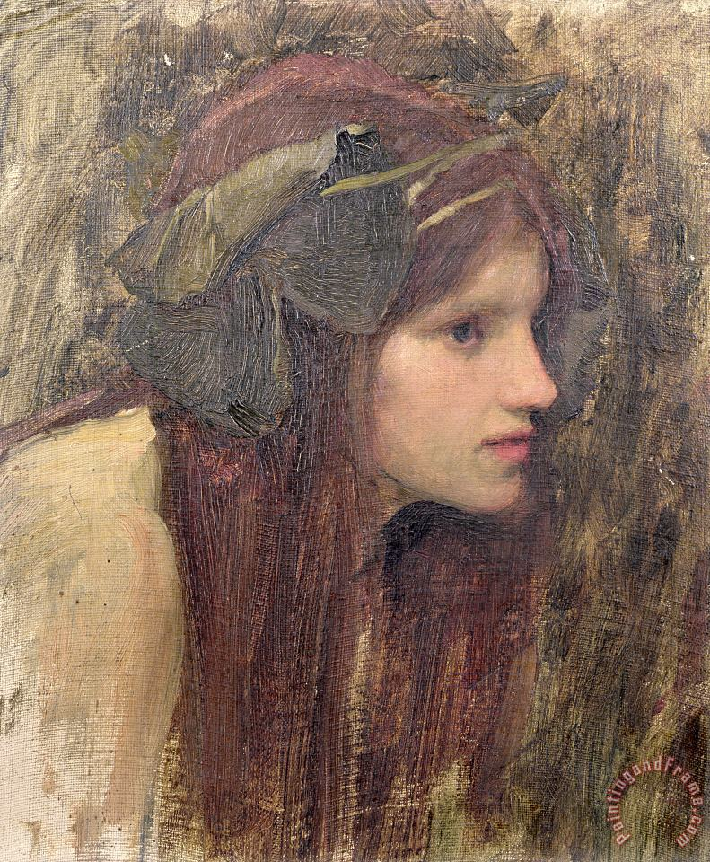 A Study for a Naiad painting - John William Waterhouse A Study for a Naiad Art Print