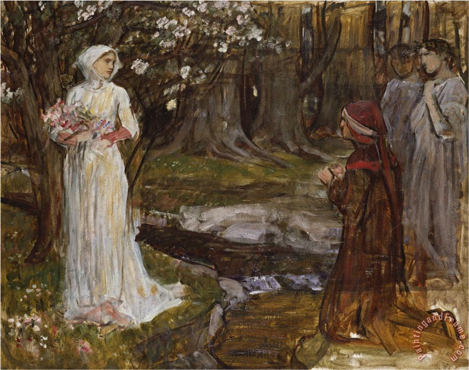 Dante And Beatrice painting - John William Waterhouse Dante And Beatrice Art Print