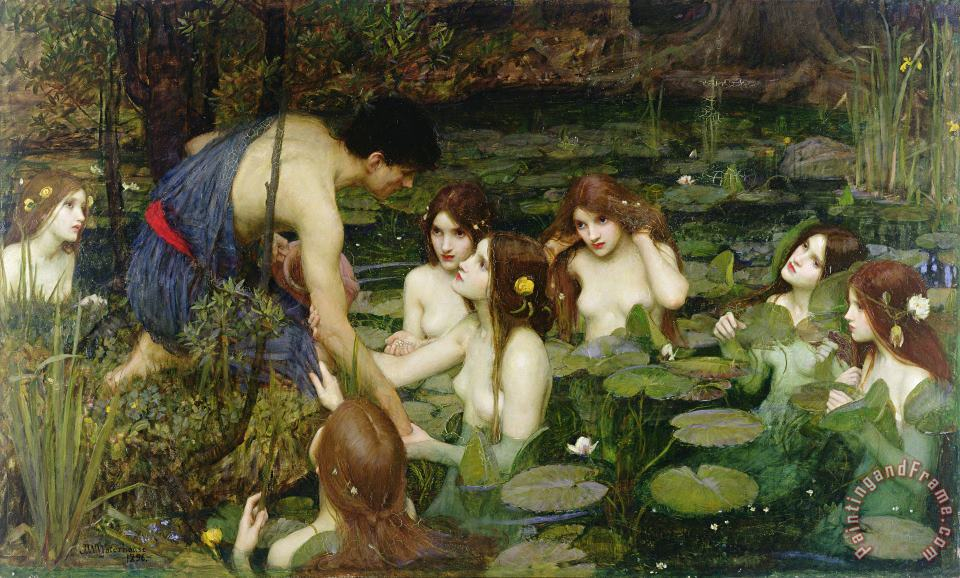 Hylas and the Nymphs painting - John William Waterhouse Hylas and the Nymphs Art Print