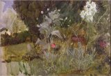 Dejeuner Sur L Herbe 1876 77 Oil on Canvas Prints - Study of Flowers And Foliage for The Enchanted Garden Oil on Canvas See 190595 by John William Waterhouse