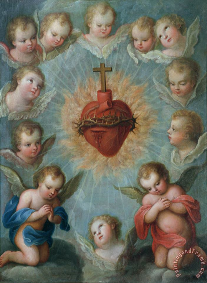Jose de Paez Sacred Heart of Jesus surrounded by angels Art Painting