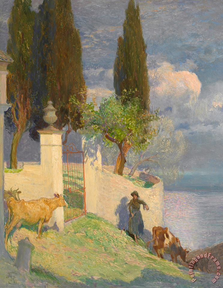 Joseph Walter West Driving Cattle Lake Como Art Painting