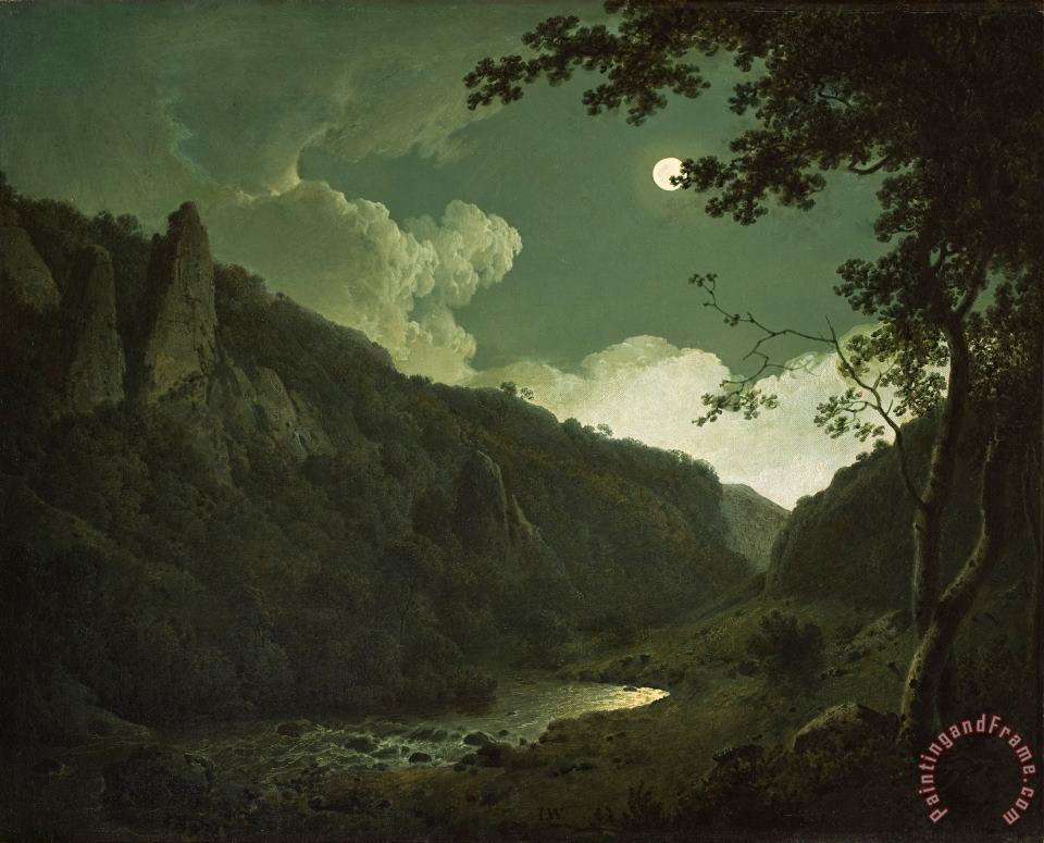 Dovedale by Moonlight painting - Joseph Wright of Derby Dovedale by Moonlight Art Print