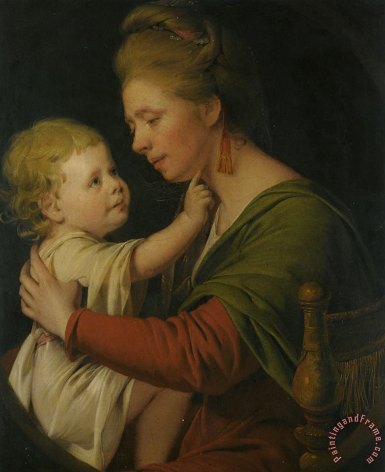 Portrait of Jane Darwin And Her Son William Brown Darwin painting - Joseph Wright of Derby Portrait of Jane Darwin And Her Son William Brown Darwin Art Print