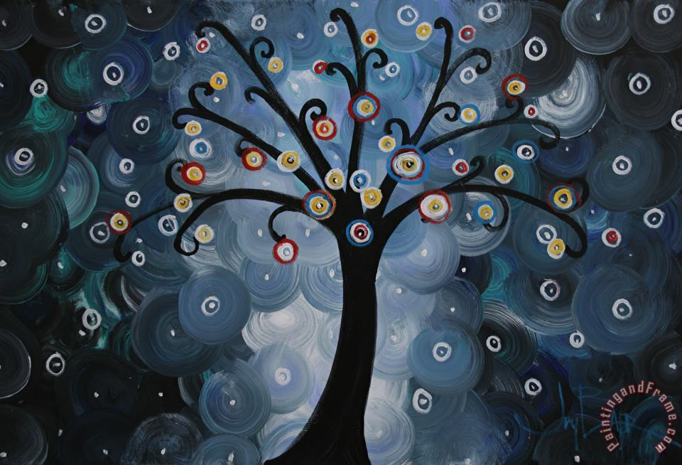 Joy Baer Solo Blue Dream Tree Spiral Night Art Painting
