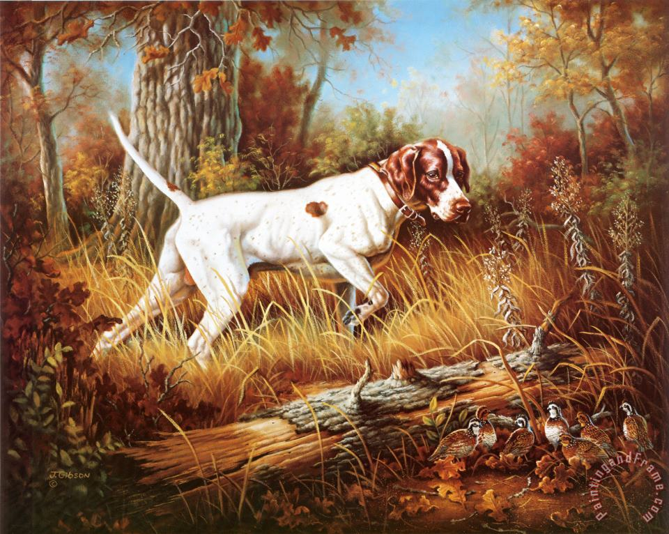 Judy Gibson Pointer with Quail Art Painting
