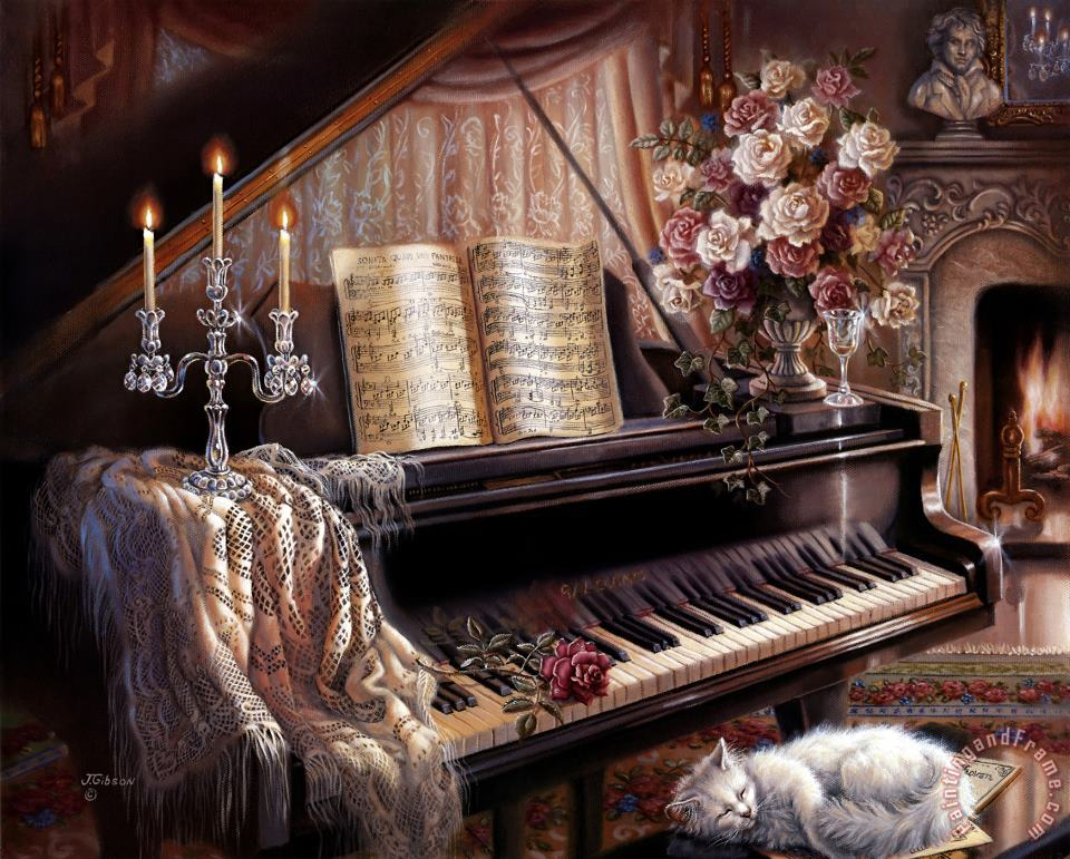 Sonata by Firelight painting - Judy Gibson Sonata by Firelight Art Print