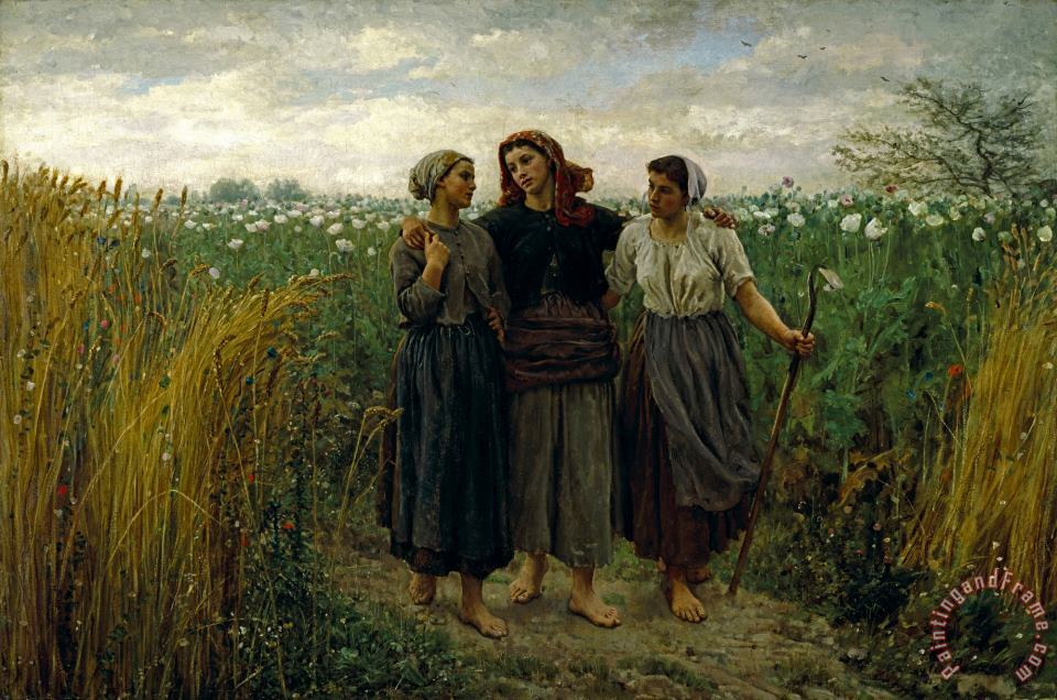Returning From The Fields painting - Jules Breton Returning From The Fields Art Print