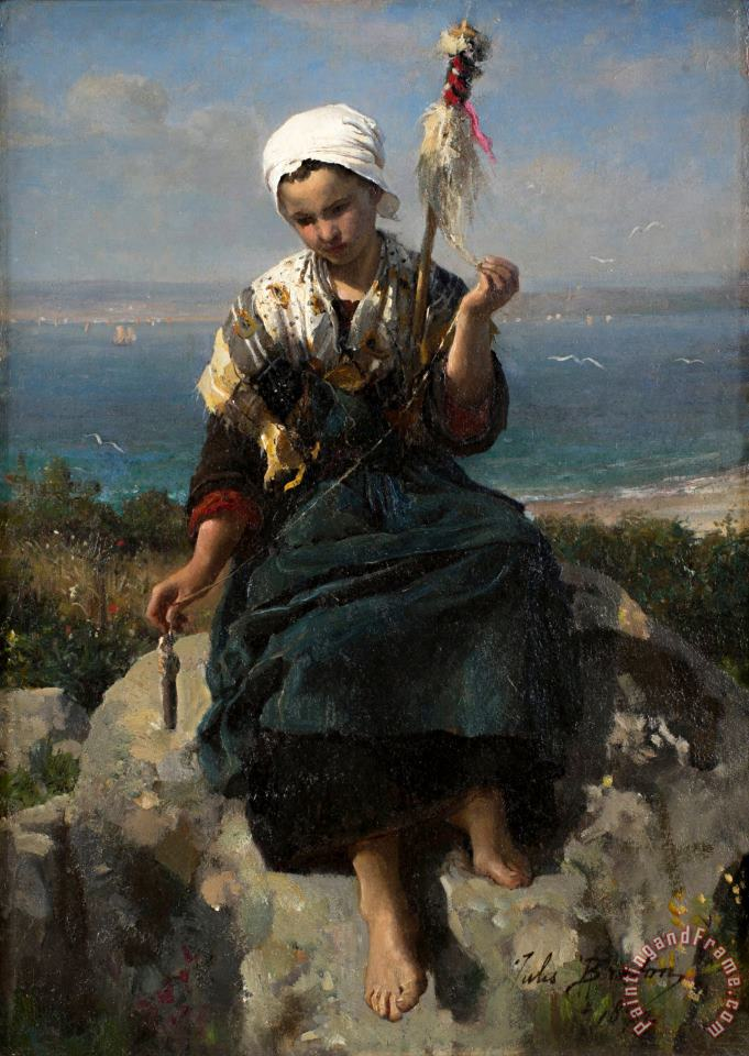 Jules Breton The Flax Spinner Art Print