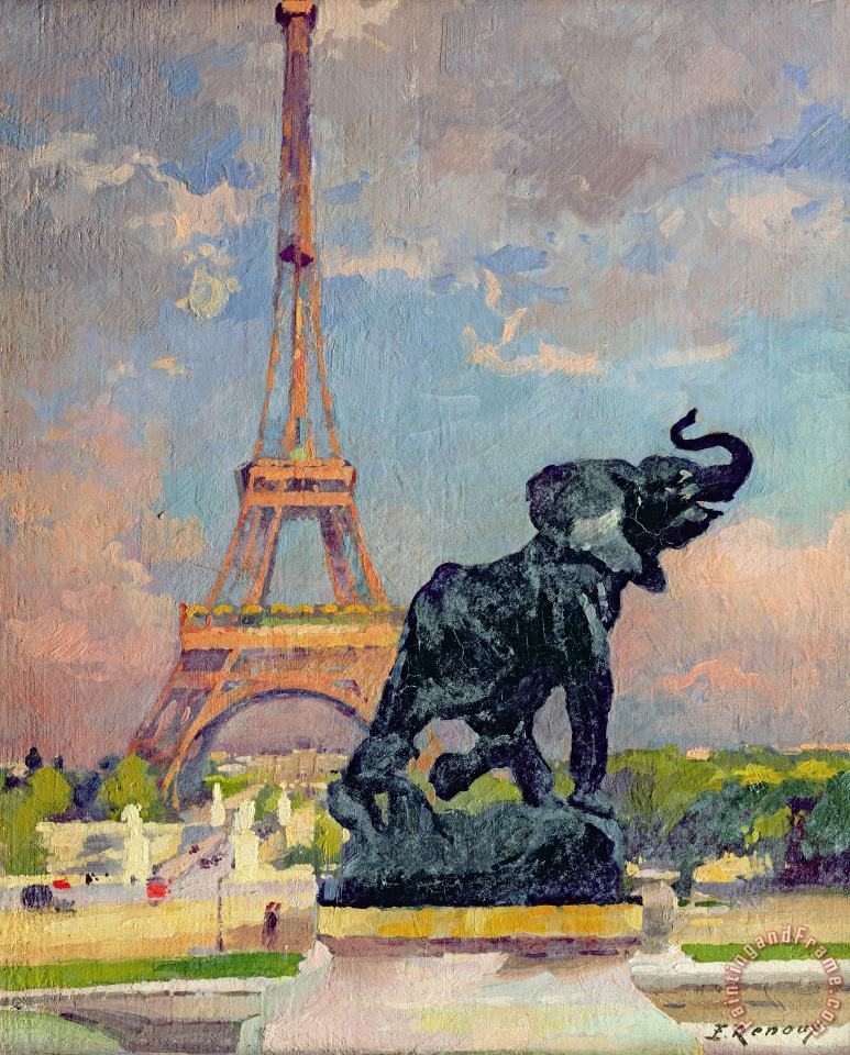Jules Ernest Renoux The Eiffel Tower and the Elephant by Fremiet Art Print