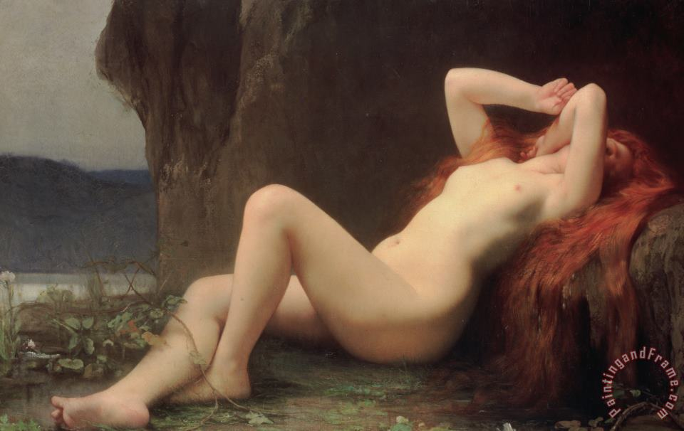 Jules Joseph Lefebvre Mary Magdalene in the Cave Art Painting