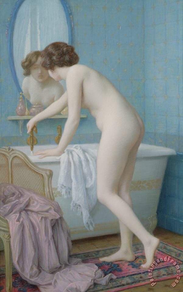 Young Woman Preparing Her Bath painting - Jules Scalbert Young Woman Preparing Her Bath Art Print