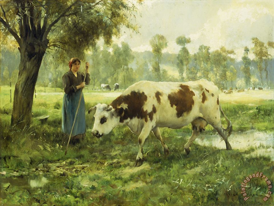 Julien Dupre Cows At Pasture Art Painting