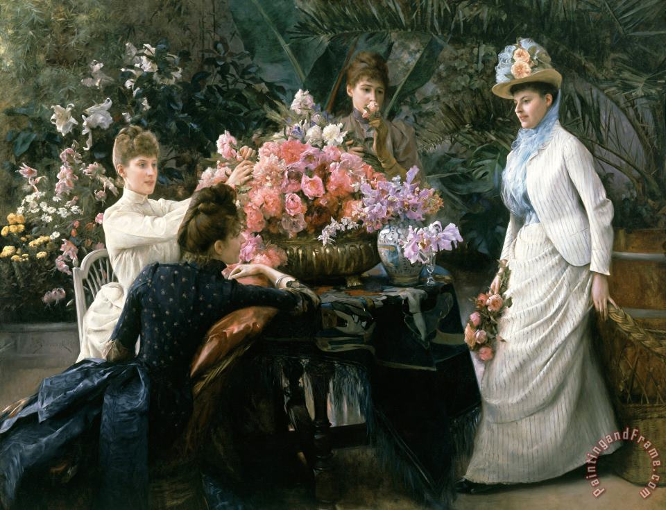 Julius Leblanc Stewart Spring Flowers (in The Conservatory) Art Print
