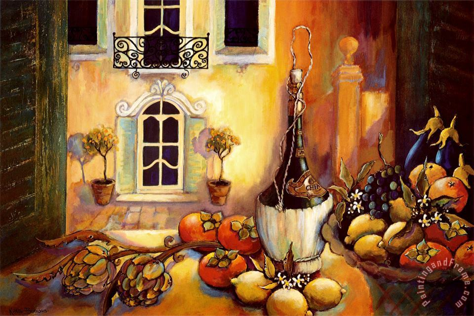 Kitchen in Tuscany painting - Karel Burrows Kitchen in Tuscany Art Print