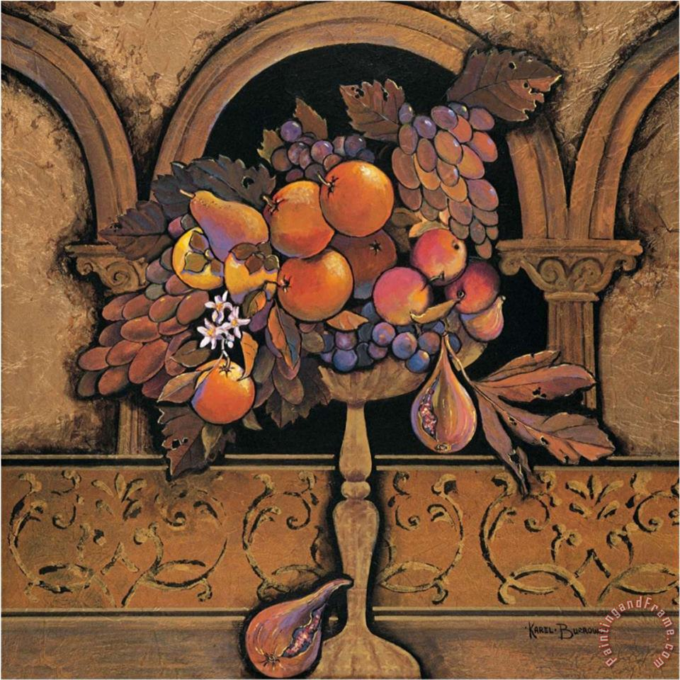 Memories of Provence Grapes And Persimmons painting - Karel Burrows Memories of Provence Grapes And Persimmons Art Print