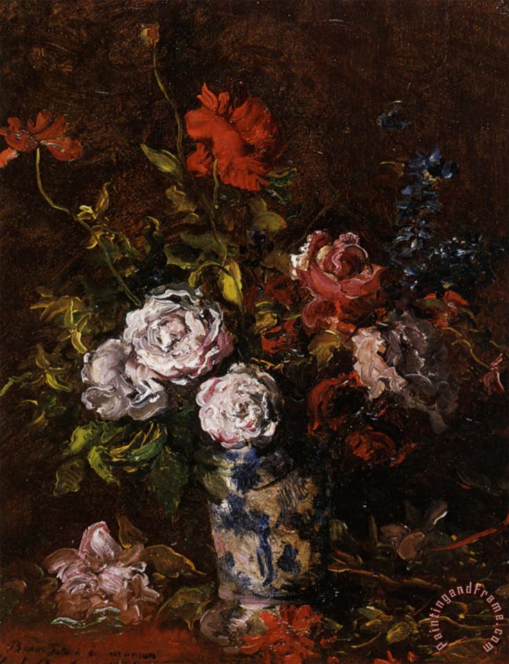 Floral Still Life in a Blue And White Porcelain Vase painting - Karl Pierre Daubigny Floral Still Life in a Blue And White Porcelain Vase Art Print