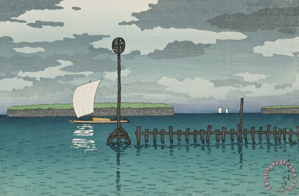 Off Shinagawa (shinagawa Oki), From The Series Twelve Subjects of Kyoto painting - Kawase Hasui Off Shinagawa (shinagawa Oki), From The Series Twelve Subjects of Kyoto Art Print
