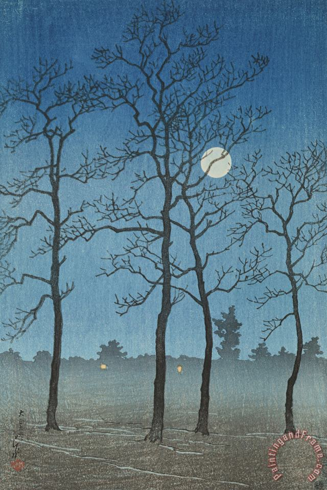 Winter Moonlight (toyamanohara), From The Series Twelve Subjects of Kyoto painting - Kawase Hasui Winter Moonlight (toyamanohara), From The Series Twelve Subjects of Kyoto Art Print