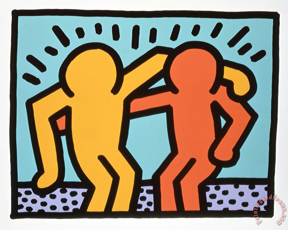 Best Buddies 1990 painting - Keith Haring Best Buddies 1990 Art Print